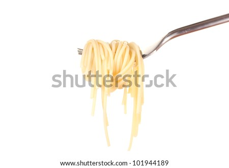Delicious spaghetti on a fork close-up on white background - stock photo