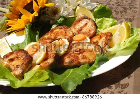 Delicious spiced catfish escalope - stock photo