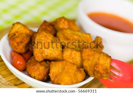 Delicious spicy chicken breast with chili sauce