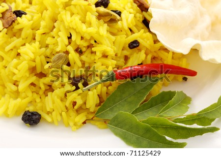 Delicious spicy rice with tumeric, chilli, cardamon and curry leaf. - stock photo