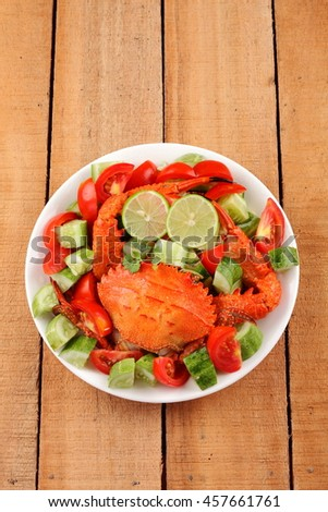 Delicious spicy seafood salad. - stock photo