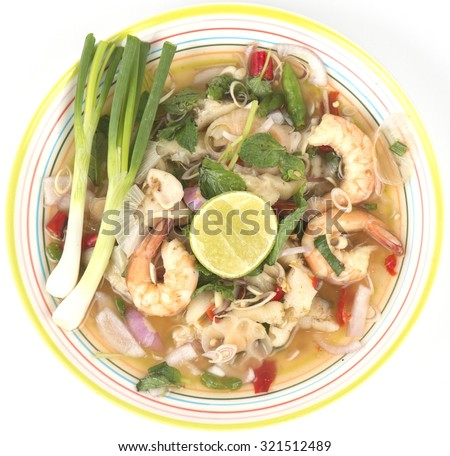 delicious spicy seafood thai food  - stock photo