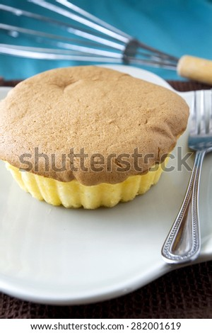 delicious sponge butter cake on dish - stock photo