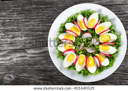 Delicious Spring onion, eggs, radish salad in a white dish on an old rustic table, horizontal top view - stock photo