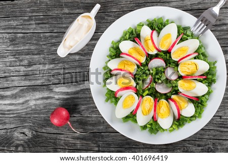 Delicious Spring onion, eggs, radish salad in a white dish with fork and gravy boat with homemade mayonnaise on an old rustic table, horizontal top view - stock photo