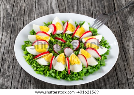 Delicious Spring onion, eggs, radish salad in a white dish with fork on an old rustic table, selective focus, horizontal close-up - stock photo
