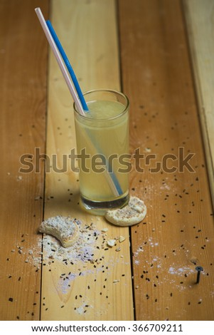 Delicious stack of several sweet cookies on wooden table - stock photo