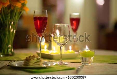 Delicious starter served with cocktail - stock photo