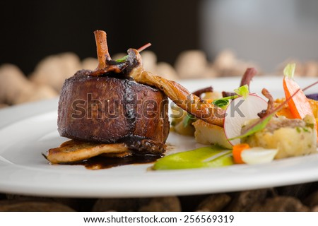 delicious steak with wild mushrooms - stock photo