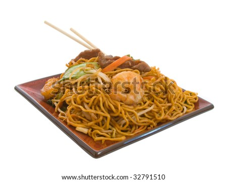 Delicious Stir Fry Noodle combination isolated over white background - stock photo