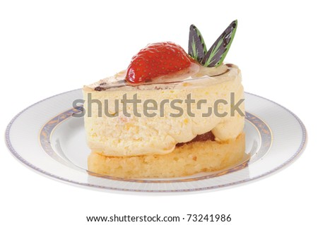 Delicious strawberry cheesecake isolated on white background - stock photo