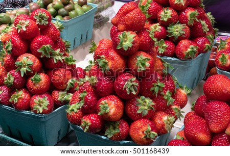 Delicious strawberry for sale on a country farm market