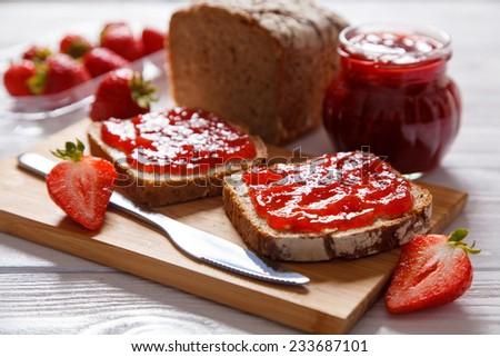 Delicious strawberry jam - stock photo