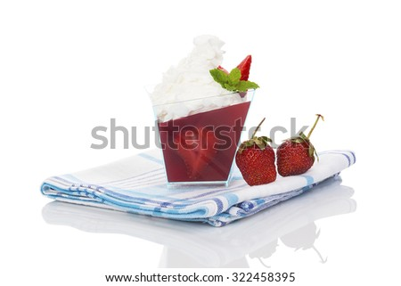 Delicious strawberry jelly dessert isolated on white background.  - stock photo