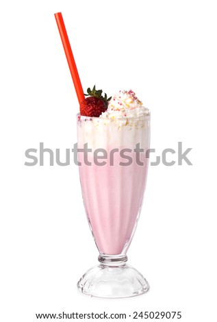 Delicious strawberry milkshake on a white background - stock photo