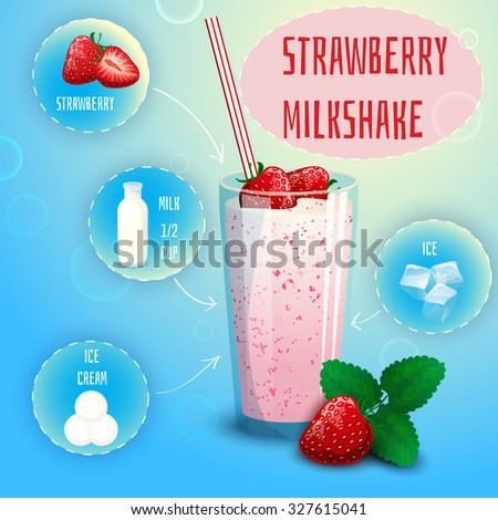 Delicious strawberry milkshake smoothie recipe graphic presentation with infographic elements decorative poster print abstract  illustration - stock photo