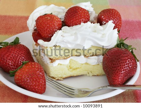 delicious strawberry shortcake - stock photo