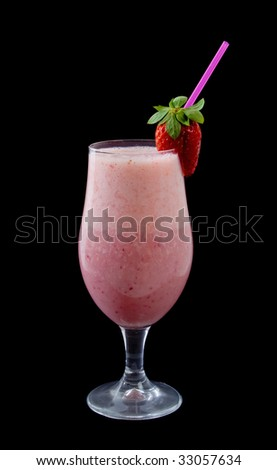 Delicious Strawberry Smoothie isolated over black background with Strawberry garnish - stock photo