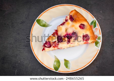 delicious summer pie with fresh cherries