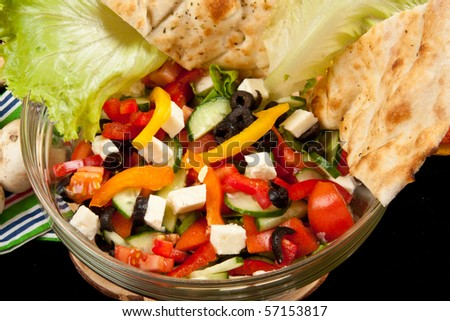 Delicious Summer Salad with Cheese - stock photo