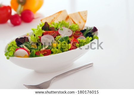 Delicious summer snack of fresh leafy green mixed salad with lettuce, radhish, peppers, tomato and toasted flatbread served in a white bowl