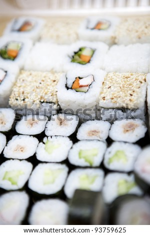 Delicious sushi set studio shot