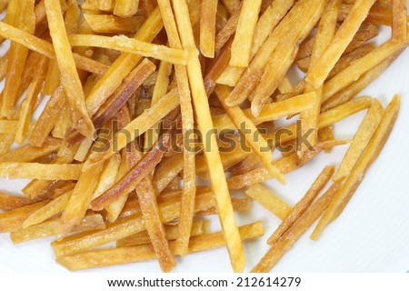 delicious sweet and salty fried potato snack food - stock photo