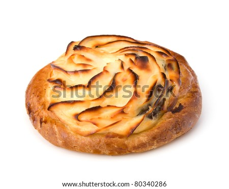 Delicious sweet cream bun isolated on white background