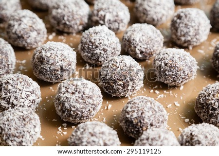 Delicious sweet Indian coconut burfi treats with selective focus - stock photo