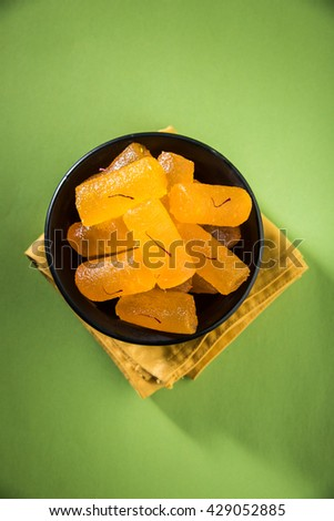 Delicious Sweet Pumpkin Pieces or Dry kesar Petha sweet, selective focus