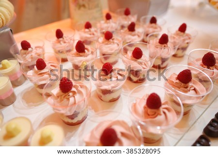 Delicious sweets on candy bar - stock photo