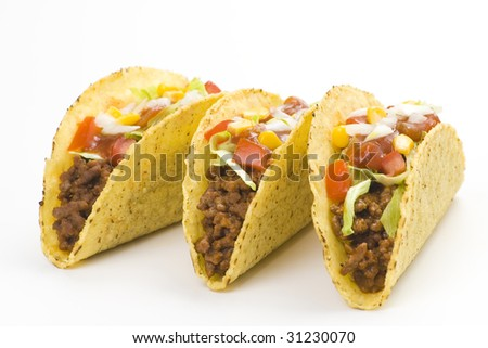 delicious taco, mexican food isolated over white - stock photo