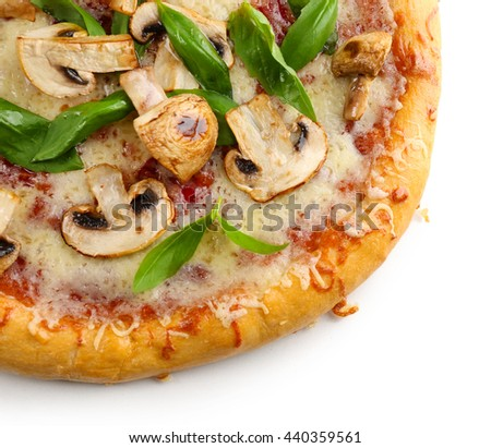 Delicious tasty pizza with vegetables, isolated on white - stock photo