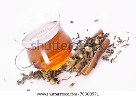 Delicious tea isolated on white - stock photo