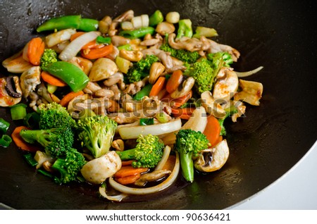 Delicious Thai dish chicken with cashewnuts. - stock photo