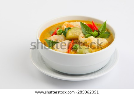 delicious thai food: green curry in a white bowl - stock photo