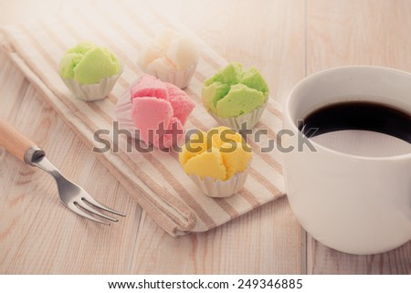 Delicious Thai sweet dessert with coffee in white cup  - stock photo