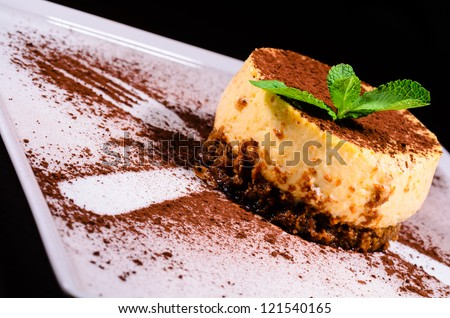 Delicious tiramisu cake with decoration