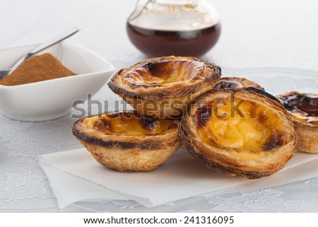 Delicious traditional asian dessert egg tarts. - stock photo