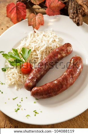 Delicious traditional sausage from Prekmurje, Slovenia - stock photo
