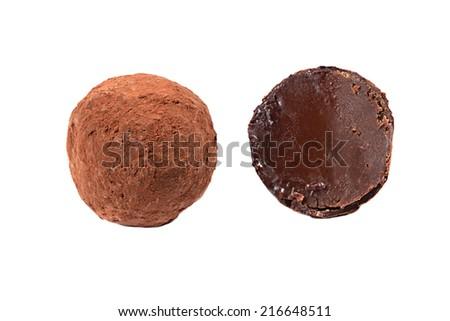 Delicious truffle isolated on white backdrop - stock photo