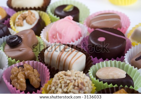 Delicious Truffles on white background. Want to eat that! - stock photo