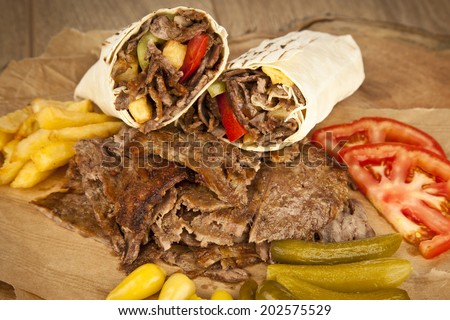 delicious turkish doner kebab grilled meat - stock photo