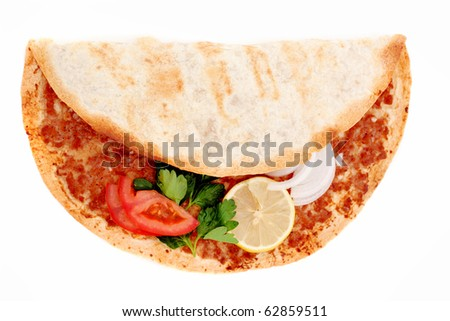 Delicious Turkish pizza lahmacun on isolated background