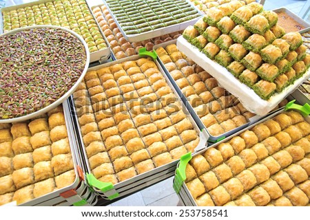 Delicious Turkish sweets and baklava  - stock photo