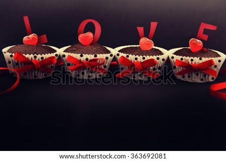 Delicious Valentine Day cupcakes. - stock photo