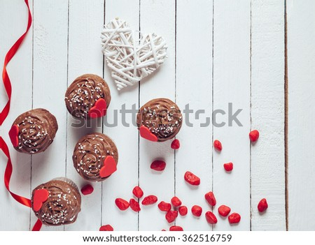 Delicious Valentine's Day Cupcakes. Copy Space