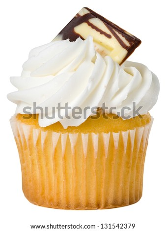 Delicious Vanilla Cupcake with Candy Decoration Isolated - stock photo