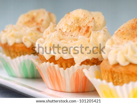 Delicious vanilla cupcake with cream cheese frosting, bananas and cinnamon. - stock photo