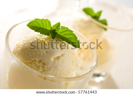 Delicious vanilla ice cream with mint leaves. - stock photo